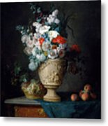 Bouquet Of Flowers In A Terracotta Vase With Peaches And Grapes Metal Print