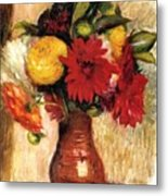 Bouquet Of Flowers In An Earthenware Pitcher Metal Print