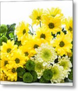Bouquet Of Fresh Spring Flowers Isolated On White Metal Print
