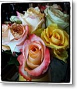 Bouquet Of Mature Roses At The Counter Metal Print
