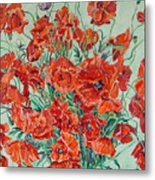 Bouquet Of Red Poppies With Soft-blue Background Metal Print