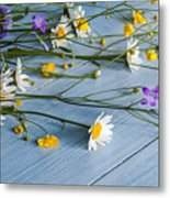 Bouquet Of Wild Flowers On A Wooden Metal Print