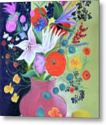 Bouquet With Dahlias And Blackberries Metal Print