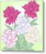 Bouquet With White And Pink Peonies.spring Metal Print