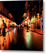 Bourbon Street At Dusk Metal Print