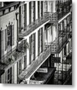 Bourbon Street Morning-bw-nola Metal Print