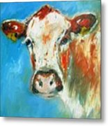 Bovine On Blue  Metal Print