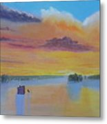 Bow Lake Ice Fishing Metal Print
