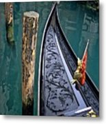 Bow Of Gondola In Venice Metal Print