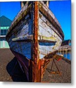 Bow Of Old Worn Boat Metal Print