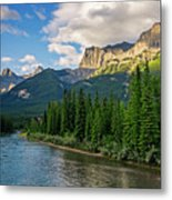 Bow River And Three Sisters Canmore Metal Print