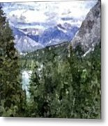 Bow River Valley In The Canadian Rockies Metal Print