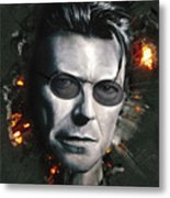 Bowie With Glasses Metal Print