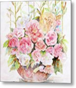 Bowl Full Of Roses Metal Print