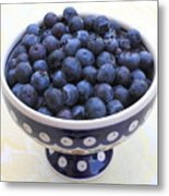 Bowl Of Blueberries Metal Print