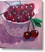 Bowl Of Cherries Metal Print