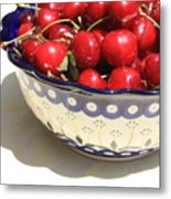 Bowl Of Cherries With Shadow Metal Print