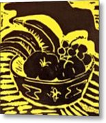 Bowl Of Fruit Black On Yellow Metal Print