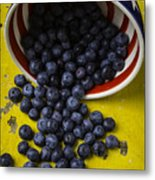 Bowl Pouring Out Blueberries Metal Print