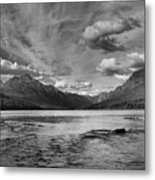 Bowman Lake Black And White Panoramic Metal Print