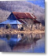 Boxely Barn Reflection Metal Print