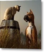 Boxer And Siamese Metal Print