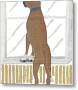 Boxer Dog Art Hand-torn Newspaper Collage Art Metal Print