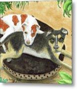 Boxer Hound Cross Dogs Plants Animals Cathy Peek Metal Print