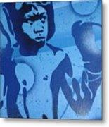 Boxer In Blue Metal Print