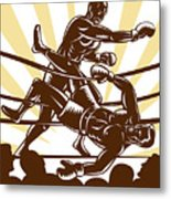 Boxer Knocking Out Metal Print by Aloysius Patrimonio