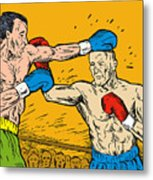 Boxer Punching Metal Print