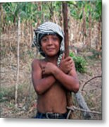 Boy And A Banana Metal Print