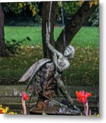 Boy And Bird Metal Print
