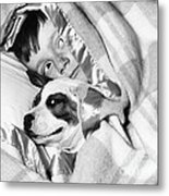 Boy And Dog Hiding Under Blanket Metal Print