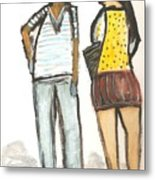 Boy And Girl After School Metal Print