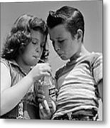 Boy And Girl Sharing A Soda, C.1950s Metal Print