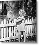 Boy And Girl Talking Over Fence, C.1940s Metal Print