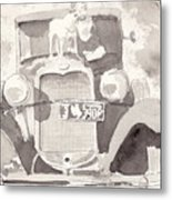 Boy And His Dog On An Old Car Metal Print