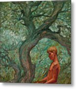 Boy And Tree Metal Print