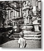 Boy At Statue In Sicily Metal Print