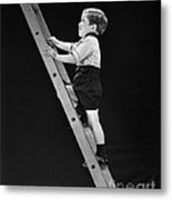 Boy Climbing Tall Ladder, C.1930s Metal Print