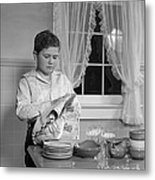 Boy Drying Dishes, C.1950s Metal Print