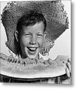 Boy Eating Watermelon, C.1940-50s Metal Print