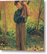 Boy Holding Logs Metal Print by Winslow Homer