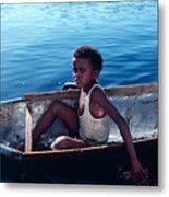 Boy In A Tin Boat On The Nile Metal Print