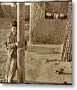 Boy In Plaid Jacket, Iran Metal Print