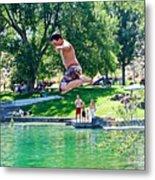 Boy Jumping Off The Board Into Dierkes Lake In Snake River Near Twin Falls-idaho   Metal Print