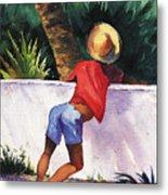 Boy Leaning On Wall Metal Print