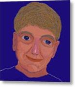 Boy On Blue Metal Print