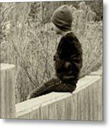 Boy On Fence - Sepia Metal Print